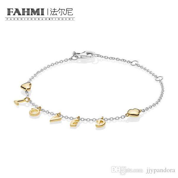 85f2828617 FAHMI 100% 925 Sterling Silver New Shine Loved Script Bracelet 2019  Valentine's Day Gift Women's