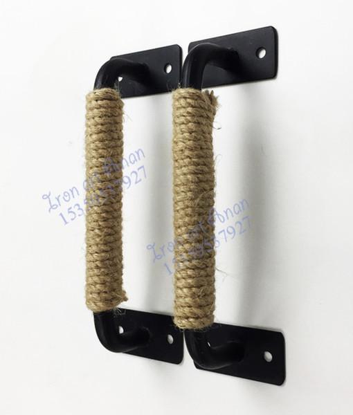 2pcs/lot LL200MM Industrial Style LOFT rope handle barn door wooden sliding door iron handle