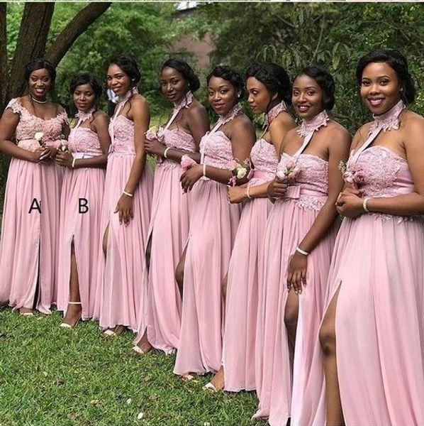 2019 Descuento Blush Pink Halter País Vestidos de dama de honor Apliques Laterales Corte de gasa Largo Fiesta de bodas Vestido de fiesta Vestidos de noche