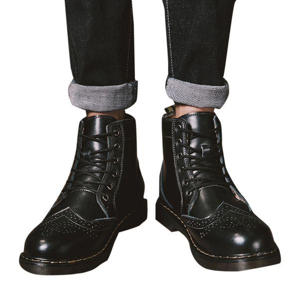 2019 männer pu leder stiefel winter schuhe mode herren retro low-heel schuhe runden kopf rutschfeste lace-up werkzeug stiefel # g3