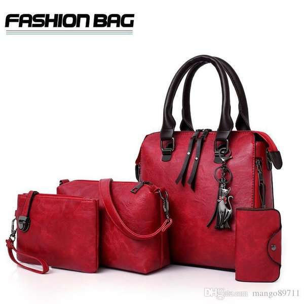 Women Bag Top-handle Bags Female Famous Brand Fashion Women Messenger Bags Handbag Set Pu Leather 5 Pcs Composite Bag