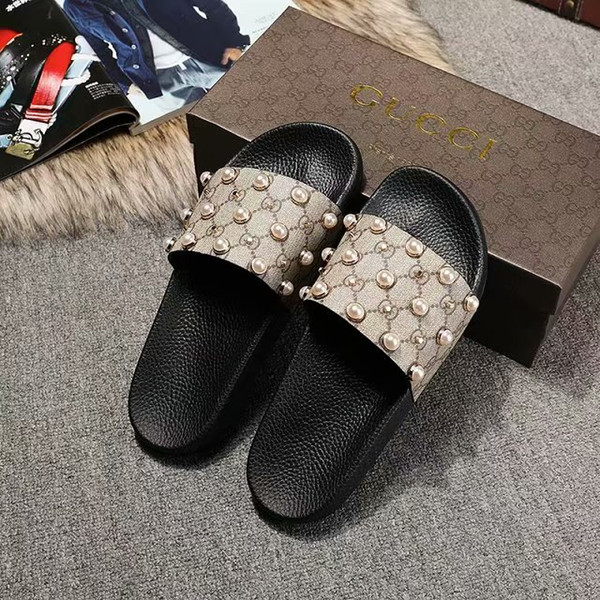 Factory outlet moda para mujer para mujer Efecto perla y tono dorado ribete de goma deslizador sandalias niños niñas unisex playa causal zapatillas