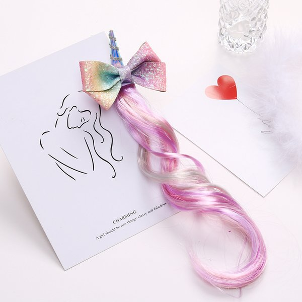Boutique ins 5pcs Fashion Cute Glitter gradient Rainbow Color Bow Unicorn Hairpins Wigs Horse Hair Clips Princess Party Headwear