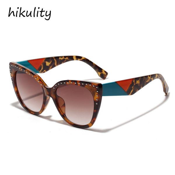90122a New 2019 Contrast Color Cat Eye Sunglasses Women Brand Designer Gradient Lens Ladies Shades Rivet Sun Glasses Female