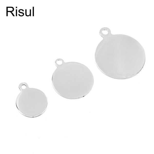 20pcs stainless steel round tag charms pendant & necklace metal blank dog tags id tag jewelry making mirror polished wholesale, Black