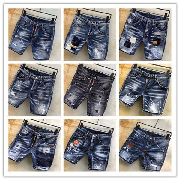 Imagen Real Italia ICON Hombres D2 Ripped Jeans Motociclista de moda Corto Jean Pantalones de mezclilla Casual Streetwear Agujero Estilo Shorts Jeans 44-54