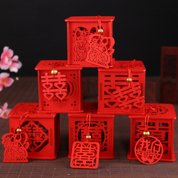 Many Styles Wood Chinese Double Happiness Wedding Favor Boxes Candy Box Chinese Red Classical Sugar Case With Tassel 6.5x6.5x6.5cm LX2111