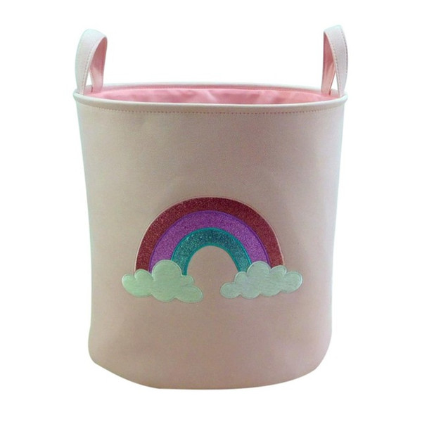 2018 New Unicorn Storage Basket for Toys Fabric Rainbow Printed Pink Clothes Basket for Child Folding Laundry Basket ZJ0693