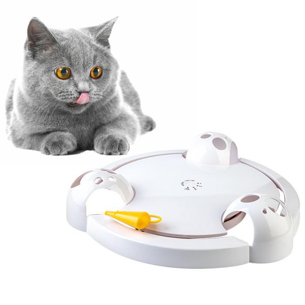 Забавный Интерактивный Pet Автоматическая Вращающаяся Игра в Кошки Тизер Пластины Мыши Поймать Игрушки Электрические Игры Упражнения Игрушки Q190523