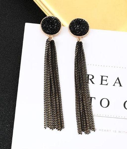 new hot Popular retro tassel earrings Korean simple black face show thin long earrings stylish classic elegant