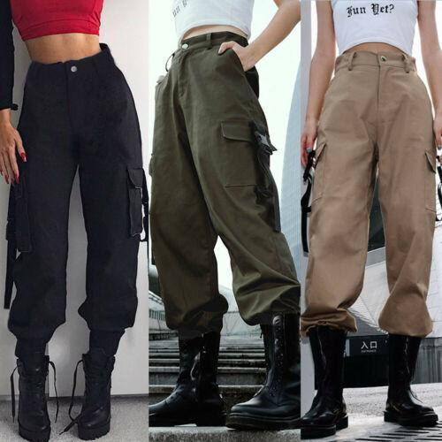 Womens Casual High Waist Pants Hip Hop Dance Jogging Hiking Trousers Ladies Solid Casual Cargo Women's Long Pants