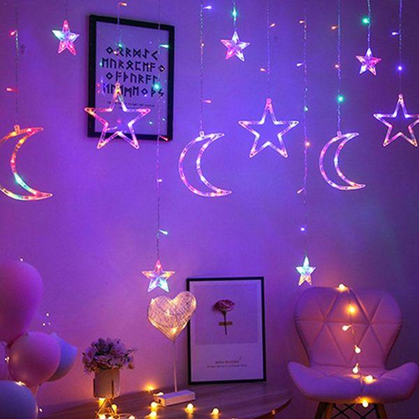 크리스마스 요정 조명 꽃줄 LED 스트링 조명 스타 화환 창 커튼 실내 장식 할로윈 파티 웨딩 조명