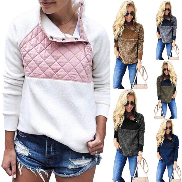 best selling Women Fleece Sherpa Pullover Sweatshirt Casual Oblique Button Collar Soft Warm Winter Patchwork Hoodies Outwear Jacket S-3XL 6 colors