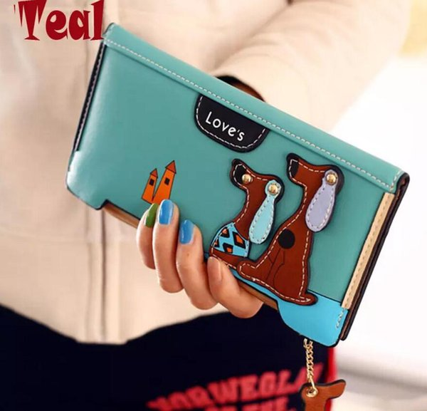 Cute Puppy Zipper Long Wallet Cute Cartoon Fashion Cartoon Dog 6 Colors PU Leather Women Wallets Ladies Clutch Card Holder