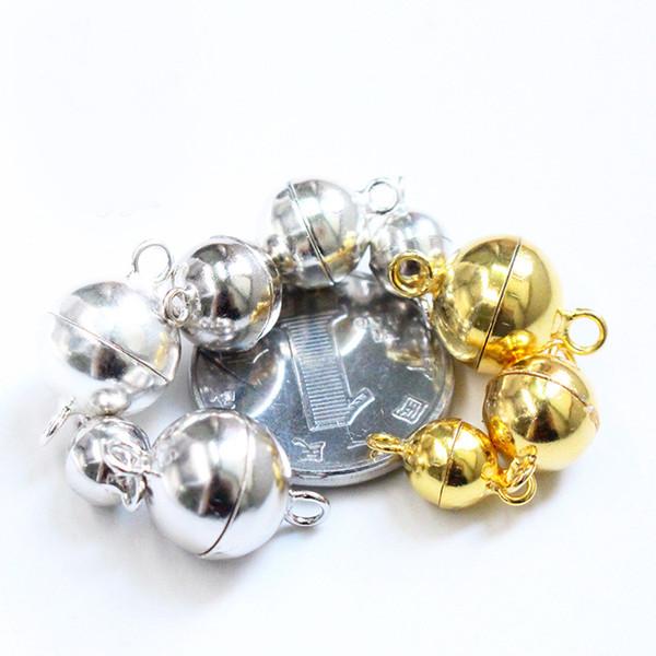 20 adet 925 Ayar Gümüş Aksesuarları Toka DIY Kolye Bilezik Mıknatıs Toka Saf Gümüş Bağlayıcı Klipsler Klipler / Parlak Gümüş / Platin