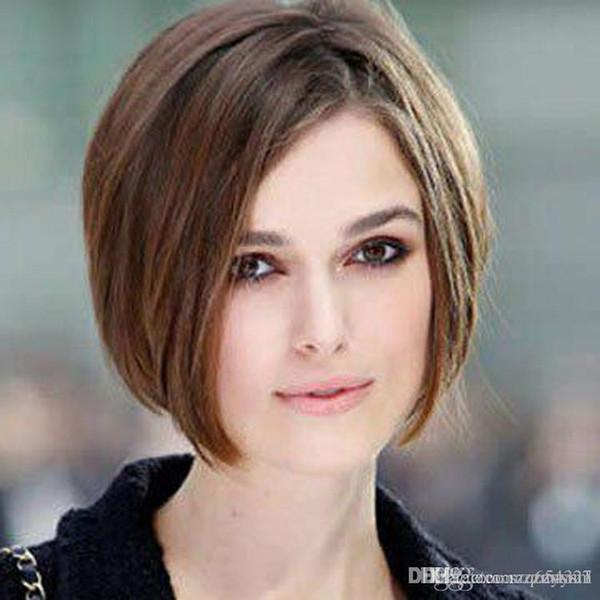 Элегантный плечо блеск средний боковой пробор прямой парик человеческих волос Capless Ombre цвет волос парик для женщин