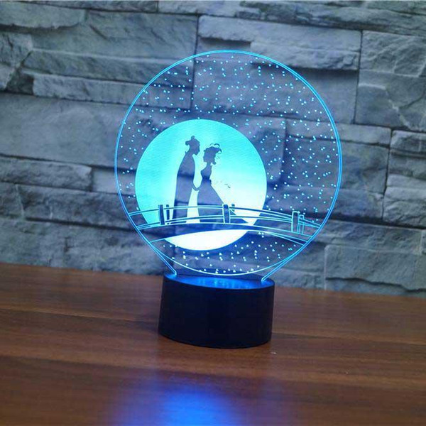 Couple Romance 3D illusion Lamp Touch 7 Color Changing USB Table Lamp Baby Sleeping Night Light Kids Birthday Gifts Party Supplies