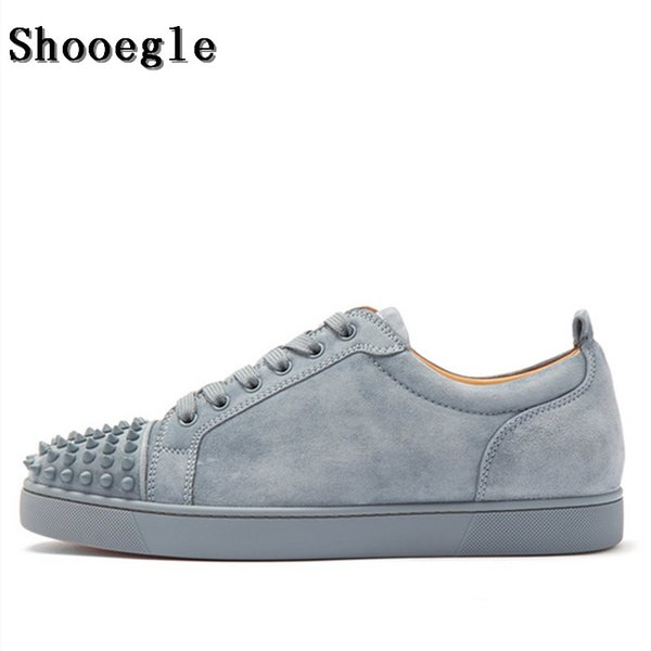 SHOOEGLE New Men Spikes Black Low Top Sneakers Fashion Heel Flat Male Rivets Casual Shoes Shoes For Men Sports Shoes From Bidashoes, $156.34|