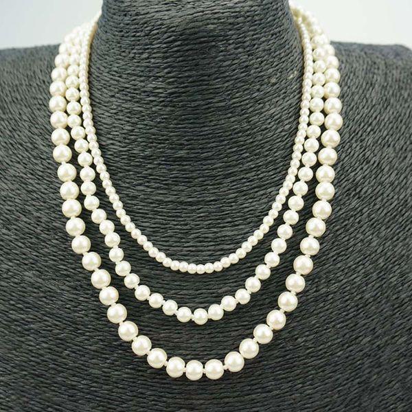 Collier de perles de coquillage bijoux ronde blanche naturelle mer collier de perles de coquillage de mode mariage faux perles de faux perles colliers