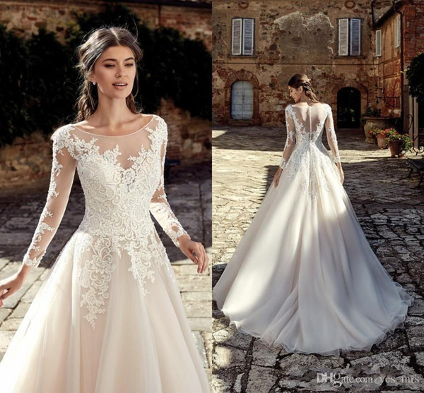 New Design A Line Wedding Dresses Long Sleeves Lace Appliques Scoop Neck Sweep Train Arabic Simple Wedding Bridal Gowns With Buttons