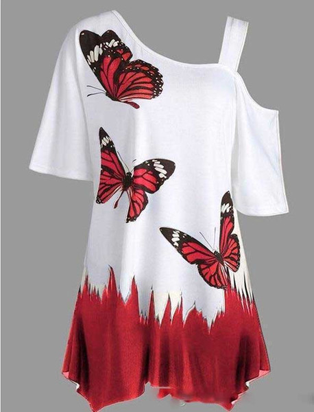 New Hot Sale Spring Summer Fashion Large Size Butterfly Printing T-Shirt Short Sleeve Casual Clothes For 16+