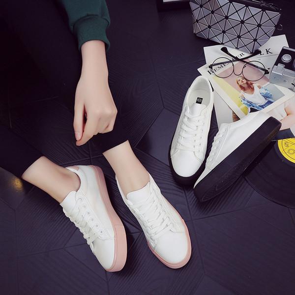 Tleni 2019 новые дикие белые спортивные туфли студенток с плоским дном обувь на шнурках холст черный работает ZW-154