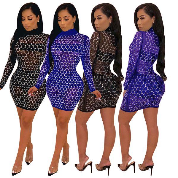 2019 I più recenti paillettes scintillanti vedono attraverso la notte sexy abiti fuori nero blu stand collo maniche lunghe vestito aderente per club party immagine reale