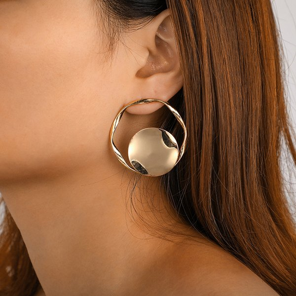 Punk Gold Hollow Circle Drop Dangle Earring for Women Abstract Geometric Pendant Earrings Party Jewelry