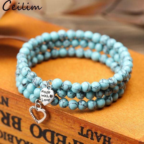 Trendy 3 Rows 6mm Turquoise Bead Bracelet Bangles With Heart Charm Natural Stone Tiger Eye Bead Men Bracelet Design Jewelry for Women Girls