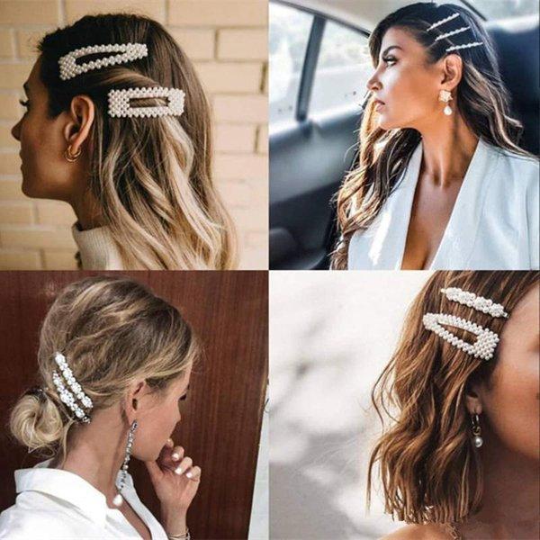 Mode perle clip cheveux pour les femmes Design élégant coréenne snap bâton Épingle cheveux Barrette Accessoires cheveux Bijoux