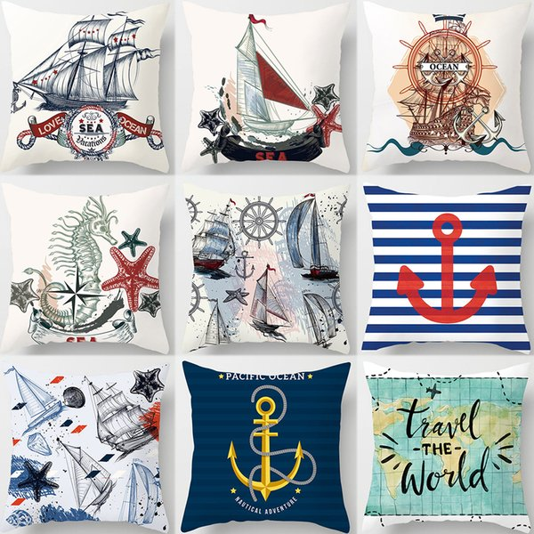 Sailing Boat Travel the Wold Sea Horsre Cushion Covers World Map Retro Style Pillow Cases 44X44cm Sofa Chair Decoration