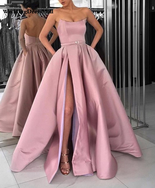 Light Purple Off The Shoulder Satin Strapless Evening Gowns Long Side Split Prom Dresses Elegant Ladies Formal Dress Party Gowns 2020 Australia 2020