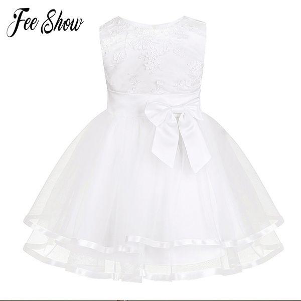 New Baby Dress Com Calcinha Branca Bordado Lace Baby Girl Vestidos de Batismo 1 Ano de Aniversário Vestido Do Bebê Meninas Roupas Para 3-24 m Y19061001