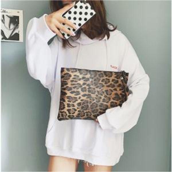 Women's Leopard print handbag Ladies Leopard Print Clutch Bag Envelope Cosmetic Bag PU Retro Fashion Handbag LJJW149