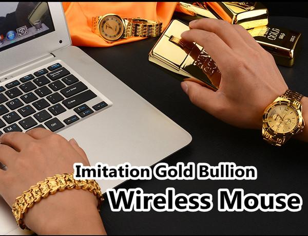 Ratón inalámbrico para juegos de imitación a la moda con lingotes de oro para PC de computadora portátil estilo delgado Ratón casi silencioso + ANT Stick Mouse barra de oro Ratones USB
