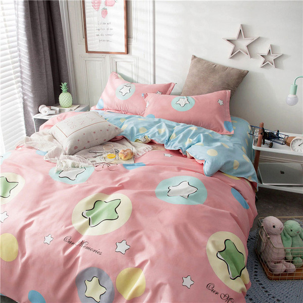 Flower Star Geometric 4pcs Bed Cover Set Cartoon Duvet Cover Adult Kids Bed Sheets And Pillowcases Comforter Bedding Set 61001