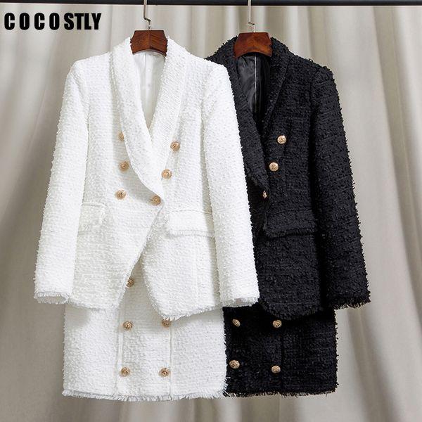 Dois peça elegante Set Tweed Blazer Mulheres Skirt Suits Mulheres cintura alta 2 Piece Set Button Up Conjunto Feminino