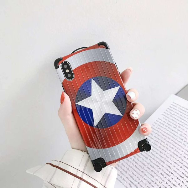 Apple MCU Captain America Luggage Designer Mobile Phone Case For iPhone X XS Max XR 6 6s 7 8 Plus Back Iphone Case Cellphone Cover