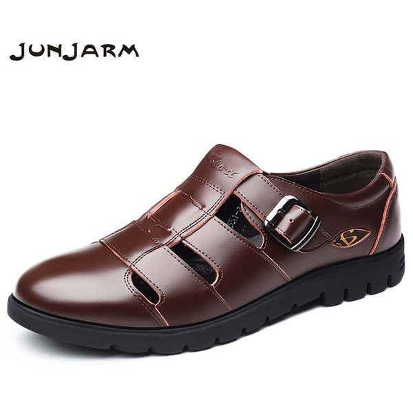 JUNJARM Big Size Classic Men Soft Sandals Comfortable Men Summer Shoes Leather Sandals Summer Beach Size 38-47