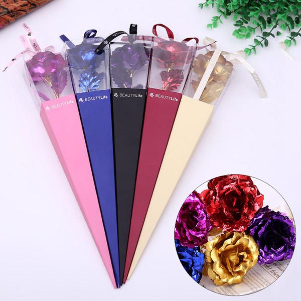 Folha de Artesanato criativo Valentine Rose Girl Favor Colorido Chapeamento de Ouro Flor Decoração de Festa de Casamento Presente Artificial Flores DH0667 T03