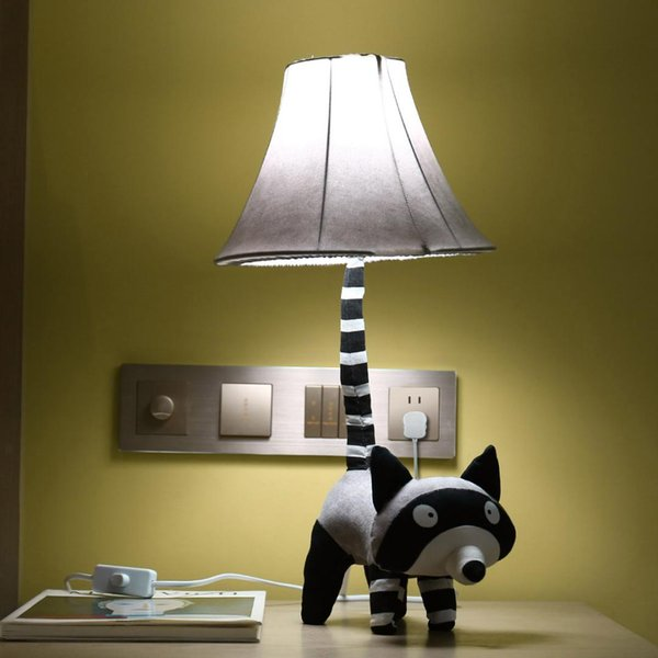 Grey Raccoon Table Lamp EU UK US Plug Modern Stitched By Hand Cute Raccoon Table Lamp with Night Light for Bedroom Office