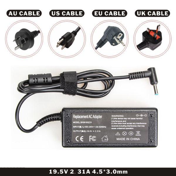 Caricabatteria per portatile DC Black Color 19.5V 2.31A 45W per laptop con cavo AC