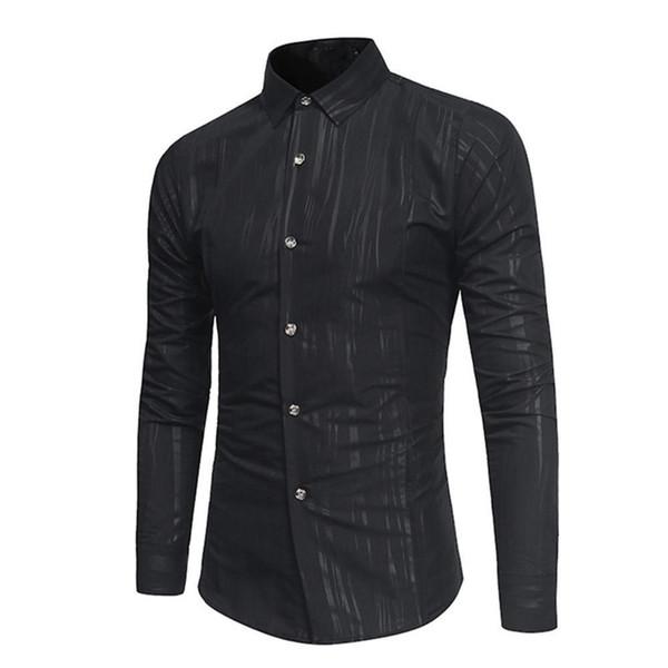Amazing 2019 Dark Grain Striped Men Shirt Korean Style Male Slim Blouse Long Sleeve Autumn Alien Arrival Handsome Man Turn-down Collar Top