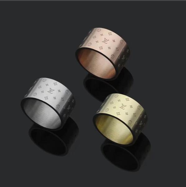 Luxus 12 MM 316 L Edelstahl modeschmuck blume brief gravieren ringe Design schmuck liebe ringe Vergoldet männer frauen hochzeit ringe