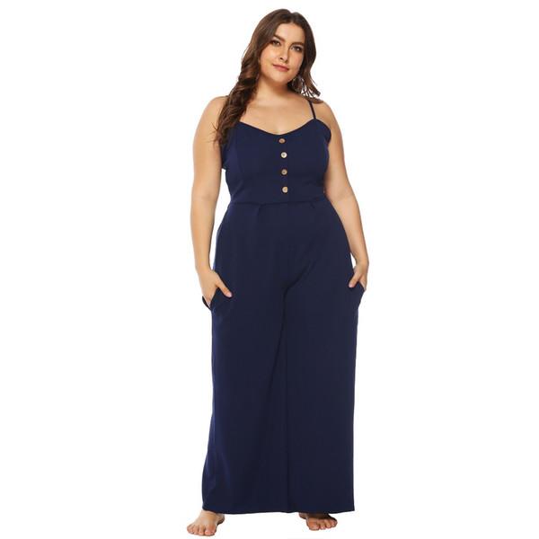 Women fashion sexy backless chiffon full length jumpsuits plus size