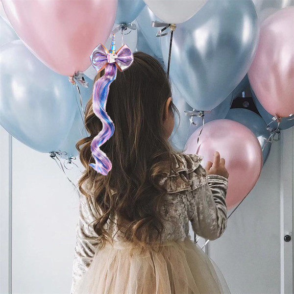 Unicorn gilding bow gradient hair wig cute child girls baby hairpin clip pink and purple hair accessory for lovely girls