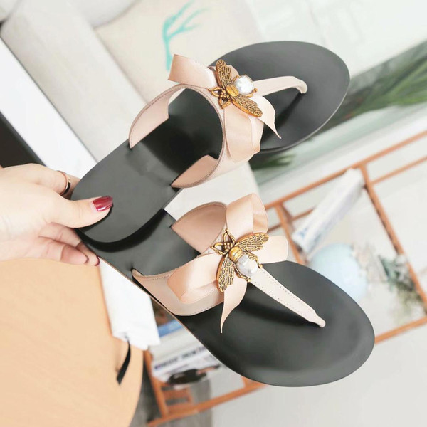 İtalya tasarımcı deri düz sandalet arı papyon bayan ayakkabı ile terlik EU35-42 ücretsiz kargo 7dfg