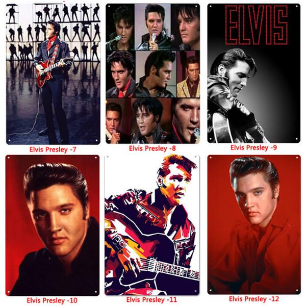 Gros Métal Signes D'étain Peinture Chanteur Elvis Presley Stickers Muraux Art Décoration Fer Peinture Plaque 20 * 30cm Mur Décor Art Photos