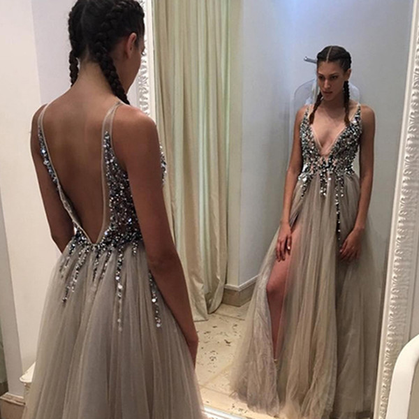 Hot Split Evening Dresses Plunging Neckline Crystal Prom Gowns Custom made  Tulle Evening Party Dress Real Pictures Backless Party Gowns 0a73617df