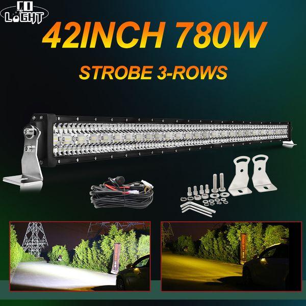 12d strobe offroad led light bar 390w 585w 780w 3-row combo beam barra led bar 12v 24v led work light for jeep 4x4 uaz